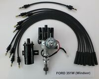 FORD 351W Windsor BLACK Small Female HEI Distributor +Spark Plug Wires +45k Coil