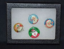 """VINTAGE Tin Santa Claus """"Health for All"""" Pins Lot of 4 Pinback Buttons"""