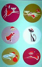 """SHAG Josh Agle  """"SIX CHRISTMAS KITTIES"""" Mini Christmas Greeting Card  Old Stock"""