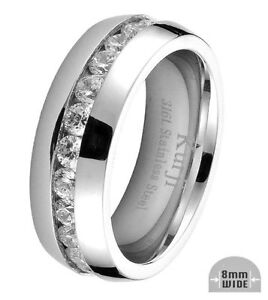 8mm Mens Classic Wedding Band Ring Stainless Steel Anniversary Eternity Ring CZ