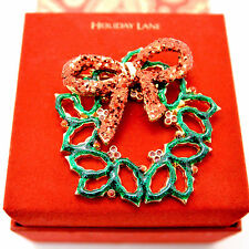 Macy's Holiday Lane Wreath Brooch Gold Tone Gift Boxed