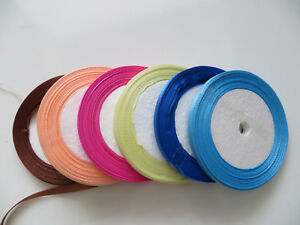 20m One Sided Quality Satin Ribbon Roll Long Lengths Width 6,10,20mm Projects