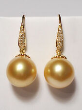 11mm rich golden South Sea pearl dangle earrings,diamonds,solid 18k yellow gold