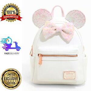 Loungefly Disney Minnie Mouse Holographic Sequin Mini White Backpack BNIB ✅