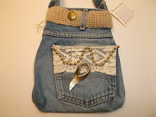GRAB & GO JEAN BAG PURSE HANDBAG W/ KNIT BELT, BEADS & LACE NWT