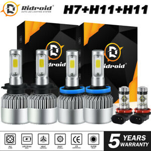 LED Headlight Bulbs H7 H11+ H11 Fog Light Combo for Hyundai Santa Fe 2013-2016
