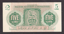 LIBYA  Tripolitania   5 Lire 1943 aUNC  PM2a  WWII BRITISH MILITARY AUTHORITY