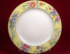 Furio Creme Brulee Round Chop Plate Platter Yellow Rim Flowers Floral Indonesia