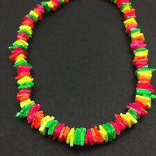 "Neon Multi-Colored Puka Chip Shells Necklace 16""X 3/8""-Hand Made-Free Shipping"