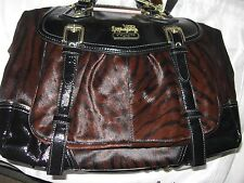 COACH 15418 $1400 MADISON CHESTNT/BLK TIGER ST HAIRCALF BRYNNE BRASS HDWRE BAG