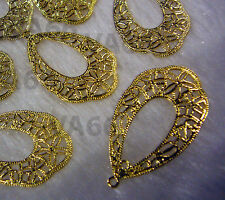 DIY Gold Filigree Lace Chandelier Earrings Hoops Loops Findings Teardrop 12pcs