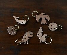 Mr Zhou Featured 6 Tag Key Rings Set * Toucan Smiley Coyote Dinosaur Whale Peace