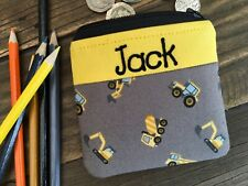 Handmade personalised kids childrens construction diggers purse wallet boy girl