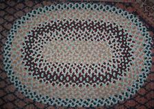 Vintage Antique Hand Handmade Oval Wool  Braided Rug