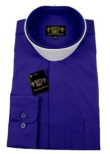 "Men's Roman Purple Neckband Clergy Shirt w/1.50"" Soft White Collar Standard Cuff"