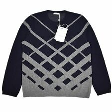 NWT $1.1k VALENTINO Men's Navy Blue Gray Jacquard Knit Wool Sweater XL AUTHENTIC