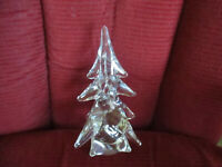 """Lead Crystal Christmas Tree Made in Japan, 25% Lead, Mint Condition 8 1/4"""" Tall"""