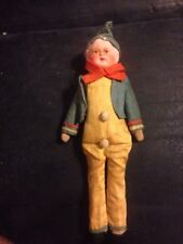 Antique Clown Elf Doll Papier Paper Mache Head Shoulder Plate Straw Stuffed Body