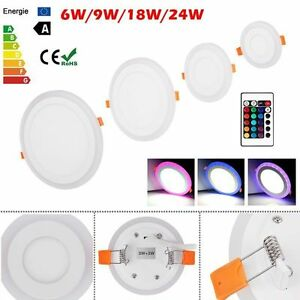 White RGB Blue Dual Color LED Light LED Ceiling Recessed Panel Downlight Lamp