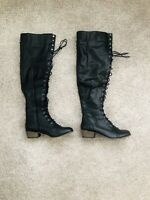 Breckelles Women's Knee High Lace up Boots Riding Bootes black size 8