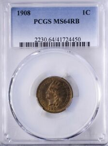 1908 Indian Head Cent PCGS MS64RB Lots of Mint Red Reverse