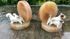 A Pair of Vintage Beautiful Marble Dog Bookends *