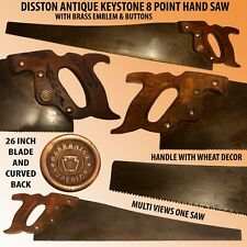 DISSTON ANTIQUE KEYSTONE 8 POINT HAND SAW WITH CURVED BACK&BRASS EMBLEM& BUTTONS