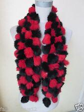 winter /real Rabbit fur handmade 108balls scarf black and red