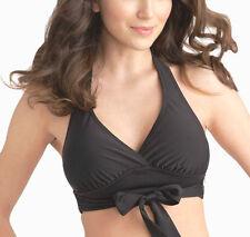 figleaves Monaco Bikini Top Size 8 10 12 14 Black Padded Crop Halter Neck 10