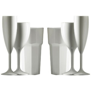 Plastic Reusable Large White Wine, White Champagne flutes and White Tumblers