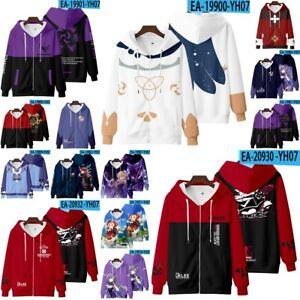 Game Genshin Impact Zip Hoodie Sweater Kid Children Teenager Unisex Sweatshirt
