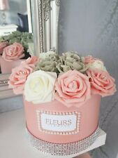 Stunning Flower Hat box Diamonte Foam Roses  Pink White Grey  MOTHERS DAY