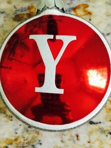 Monogram Letter Y Glass Christmas Ornament