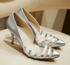 New Ladies Pointy Toe PU Leather Clear Stiletto High Heels Dress Shoes All UK Sz