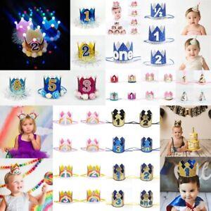 Kids Boys Girls Hair Decor Glitter Hat Princess Prince 1st Birthday Party Crowns