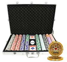 1000 14 G HIGH ROLLER CASINO TABLE CLAY POKER CHIPS SET NEW