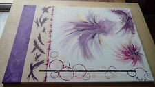 Tableau comtemporain - abstrait - ton rose, violet, beige, TOILE UNIQUE
