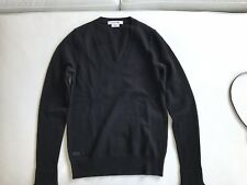 NEW Lacoste 100% Cashmere Sweater Women 34 Small V Neck Black