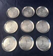 Vintage Forged Aluminum  9 Coasters Fruit Floral