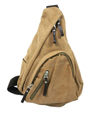 Canvas One Strap Sling Bag with Leather Trim for Men & Women - Light Khaki Brown