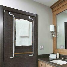 Over Door 4 Tier Towel Rail Hanger w/ Wood Grains Rack Bathroom Kitchen Chrome
