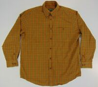 Orvis Mens Flannel Collared Shirt L Orange Plaid Long Sleeve Button Down