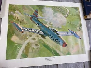 "Jet Combat Over Korea Republic F-84E Thunderjet - Aviation Art print 18"" x 24"""