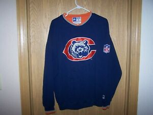Vintage 1990s Chicago Bears Stater Pro Line NFL NAVY  Blue Sweatshirt Size Large