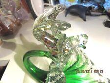 Hand Blown Art Glass Flower Bird on a Cornucopia Murano Style Sculpture