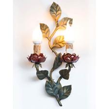 Aplique dos luces de hierro con hojas