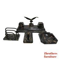 Hermann Gompertz Antique Marble desk Set  Germany Flying Eagle