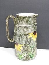 Antique English Pottery Pitcher Hand Painted Black Eyed Susans H & Co