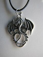 "Dragon Pendant on a Black 16 to 17"" Necklace"