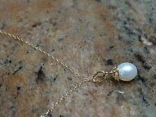 14kt Yellow Gold Filagree Drop Pearl Pendant 16""